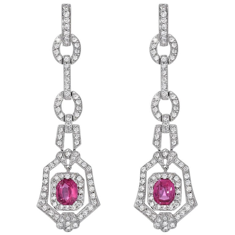 Pink Sapphire Earrings Cushion Cut 2.90 Carats For Sale