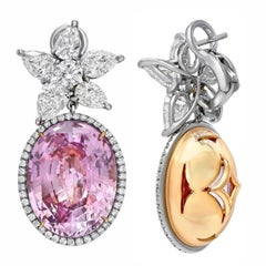 Pink Sapphire Earrings 36.64 Carats GIA Certified