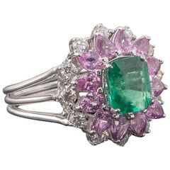 Pink Sapphire, Emerald and Diamond 18k Gold Ring