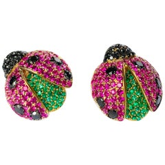 "Rosior Pink Sapphire, Emerald and Diamond ""Ladybug"" Stud Earrings"