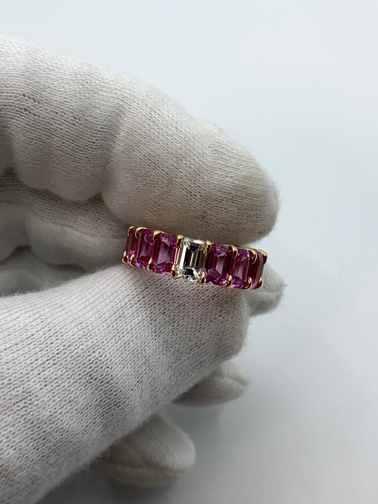 Pink Sapphire Emerald Cut and Diamond Eternity Band Ring In New Condition For Sale In New York, NY