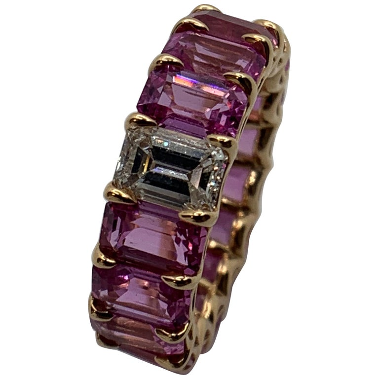 Pink Sapphire Emerald Cut and Diamond Eternity Band Ring For Sale