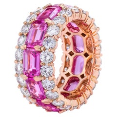 Pink Sapphire Emerald Cuts and Round White Diamond Multi-Row Eternity Band Ring