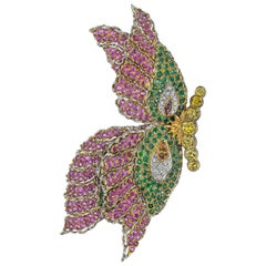 Pink Sapphire, Emerald and Diamond Butterfly Pin