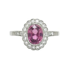 Pink Sapphire Engagement Ring Diamond 2 Carat Halo Edwardian Art Deco Revival
