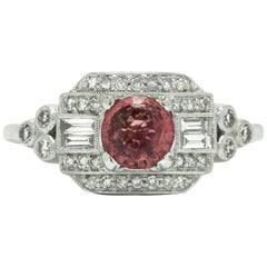 Pink Sapphire Estate Diamond White Gold Gemstone Engagement Ring Art Deco Style