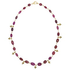 Pink Sapphire Faceted Bead and Diamond Necklace