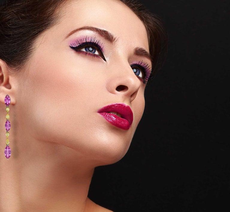 Marquise Cut Pink Sapphire Earrings Fancy Intense Yellow Diamond Modern Drop Earrings For Sale
