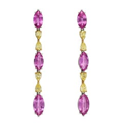 Pink Sapphire Earrings Yellow Diamonds 12.10 Carats