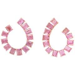 Pink Sapphire Gold Hoop Earclips