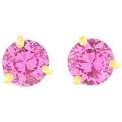 Pink Sapphire Gold Stud Earrings