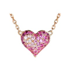 Pink Sapphire Heart Shape Necklace 18K Rose Gold