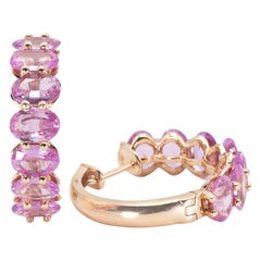Pink Sapphire Hoop Earrings