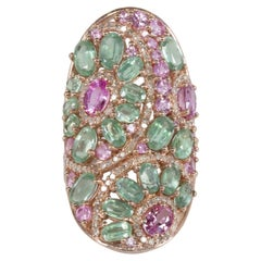 Pink Sapphire Kyanite Diamond Cocktail Ring