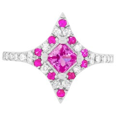 Pink Sapphire, Multi-Color Sapphire and Diamond Marquise Shield Inspired Ring