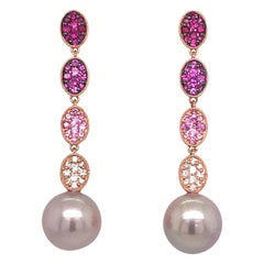 Pink Sapphire Ombree Diamond South Sea Pearl Drop Earrings 166 Carat 18 Karat