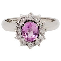 Pink Sapphire Oval and White Diamond Cluster Ring in Platinum