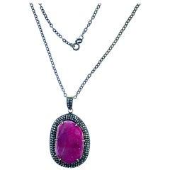 Pink Sapphire Oxidize Silver 14 Karat Gold Champagne Diamond Pendant Necklace