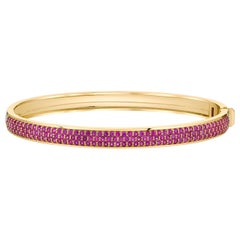 Pink Sapphire Pave Contemporary Gold Bangle by ARK Fine Jewelry