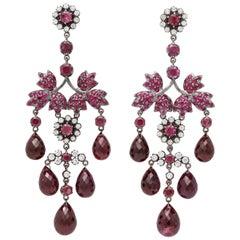 Pink Sapphire, Pink Tourmaline Briolette, Diamond Chandelier Earring