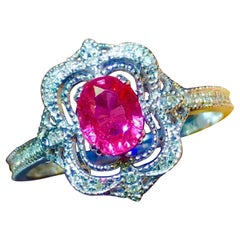 Pink Sapphire Ring 18 Karat White Gold