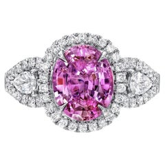 Pink Sapphire Ring 3.07 Carat Oval