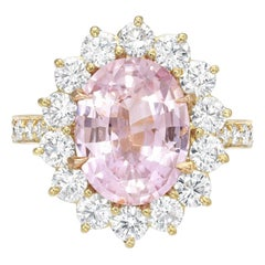 Pink Sapphire Ring 4.47 Carats Oval