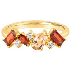 Pink Sapphire Ring, Diamond Engagement Ring, 14-18 Karat Solid Gold Ring, Garnet