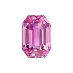 Pink Sapphire Ring Gem 3.84 Carat Emerald Cut Loose Gemstone