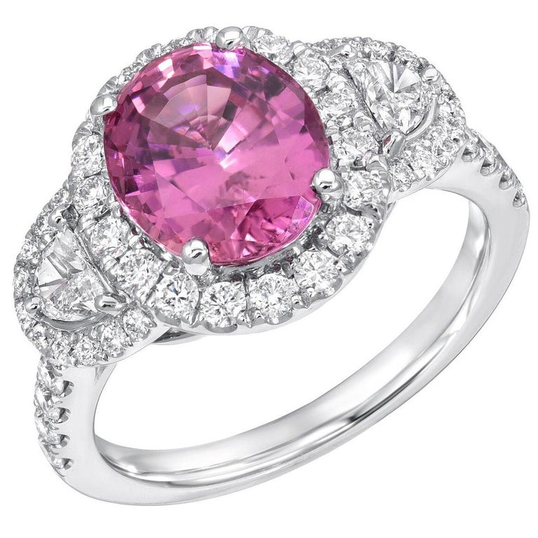 Pink Sapphire Ring Oval 3.14 Carats For Sale