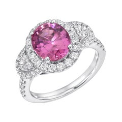 Pink Sapphire Ring White Gold Cocktail Oval Engagement Ring 3.14 Carat