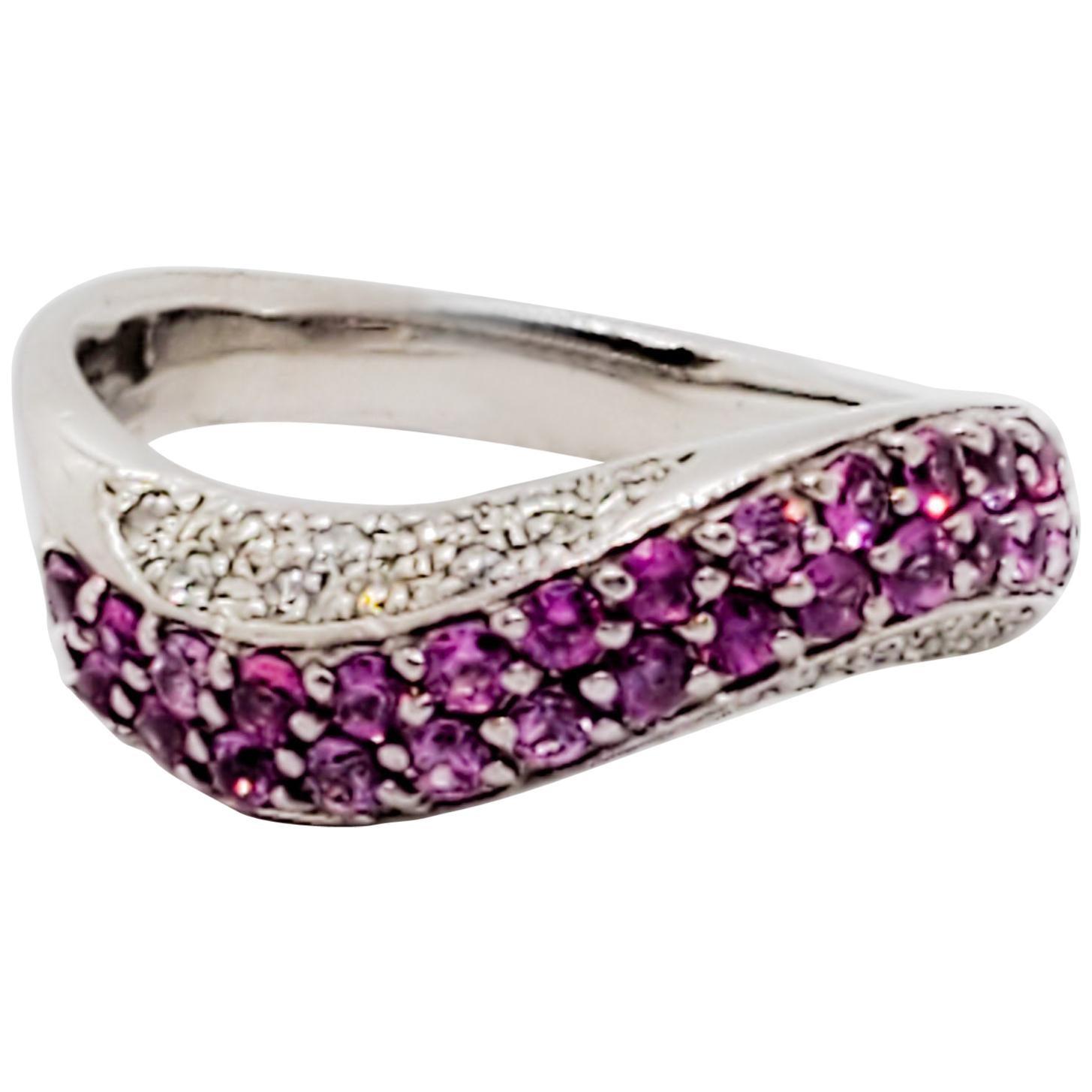 Pink Sapphire Round and White Diamond Round Band Ring in Platinum