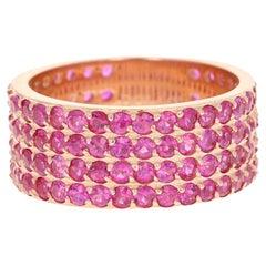 Pink Sapphire Round Cut Band 14 Karat Rose Gold