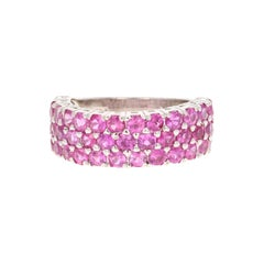 Pink Sapphire Round Cut Band 14 Karat White Gold