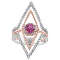 Pink Sapphire Round White Diamond Halo Two Color Gold Cocktail Fashion Ring