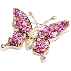 Pink Sapphire, Rubelite and Diamond in White Gold Butterfly Brooch