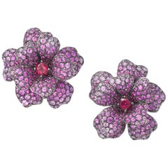 Pink Sapphire, Ruby and Rubellite Flower Earrings
