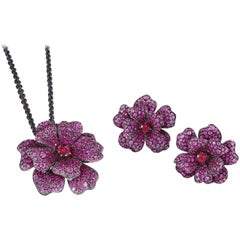 Pink Sapphire, Ruby and Rubellite Flower Necklace and Ring Suite
