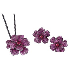 Flower Necklace and Ring in 18K White Gold, Pink Sapphire, Ruby and Rubellite