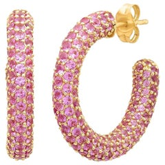 Pink Sapphire September Birthstone Gemstone Pave Hoop Earrings, Gold, Ben Dannie