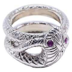 Pink Sapphire Snake Ring Sterling Silver Cocktail Ring Victorian Style J Dauphin