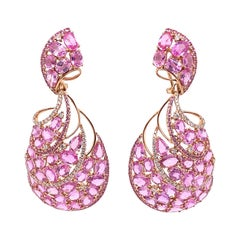 Pink Sapphire Swirl Large Earrings