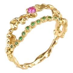 Pink Sapphire Tsavorite 18 Karat Yellow Gold Ring