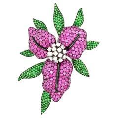 Pink Sapphire, Tsavorite & Diamonds En Tremblant Lily Flower Brooch 18kt White