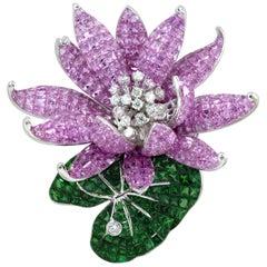 Pink Sapphire, Tsavorite with Diamond Floral Lotus Brooch 18 Karat White Gold