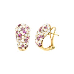 Pink Sapphire White Diamond Mother of Pearl 18 Karat Yellow Gold Earrings