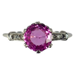 Pink Sapphire White Diamond Platinum Solitaire Ring