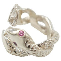 Pink Sapphire White Diamond Two Head Snake Ring Silver J Dauphin