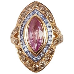 Marquise Pink Sapphire, Blue Sapphire and Brown Diamond Ring in 18K Rose Gold