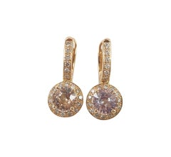 Pink Sapphire with Brown Diamond Earrings Set in 18 Karat Rose Gold Settings